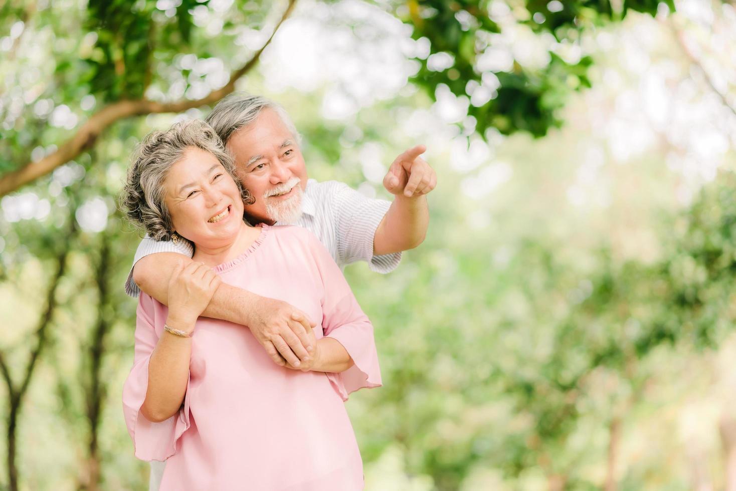 Happy senior Asian couple in love photo