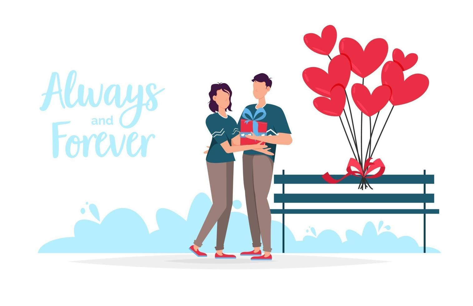 Valentines day romantic dating gift card. Lovers relationship two people. Loving couple holding gift. vector