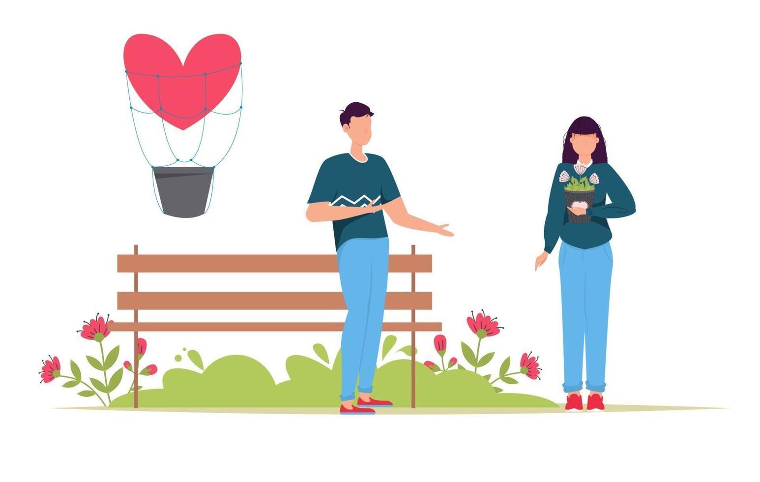 tarjeta de regalo de citas románticas del día de san valentín. los amantes de la relación de dos personas. pareja amorosa con regalo. vector