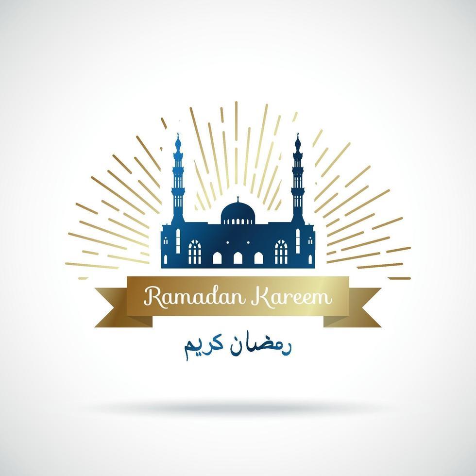 Ramadan Kareem greeting banner. Mosque in the rays. vector