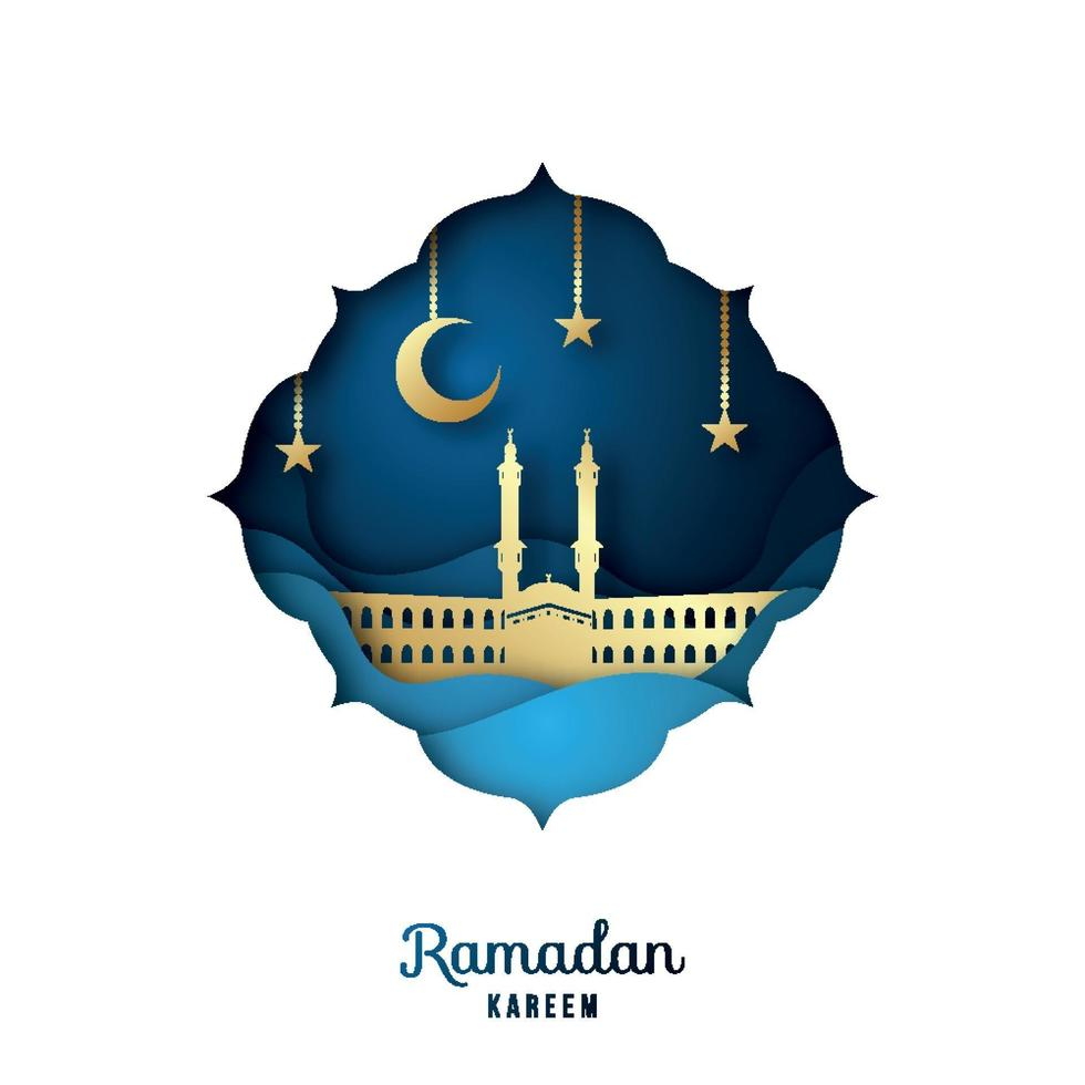 Ramadan Kareem Greeting card with golden mosque, crescent moon and stars. Paper cut landscape. vector