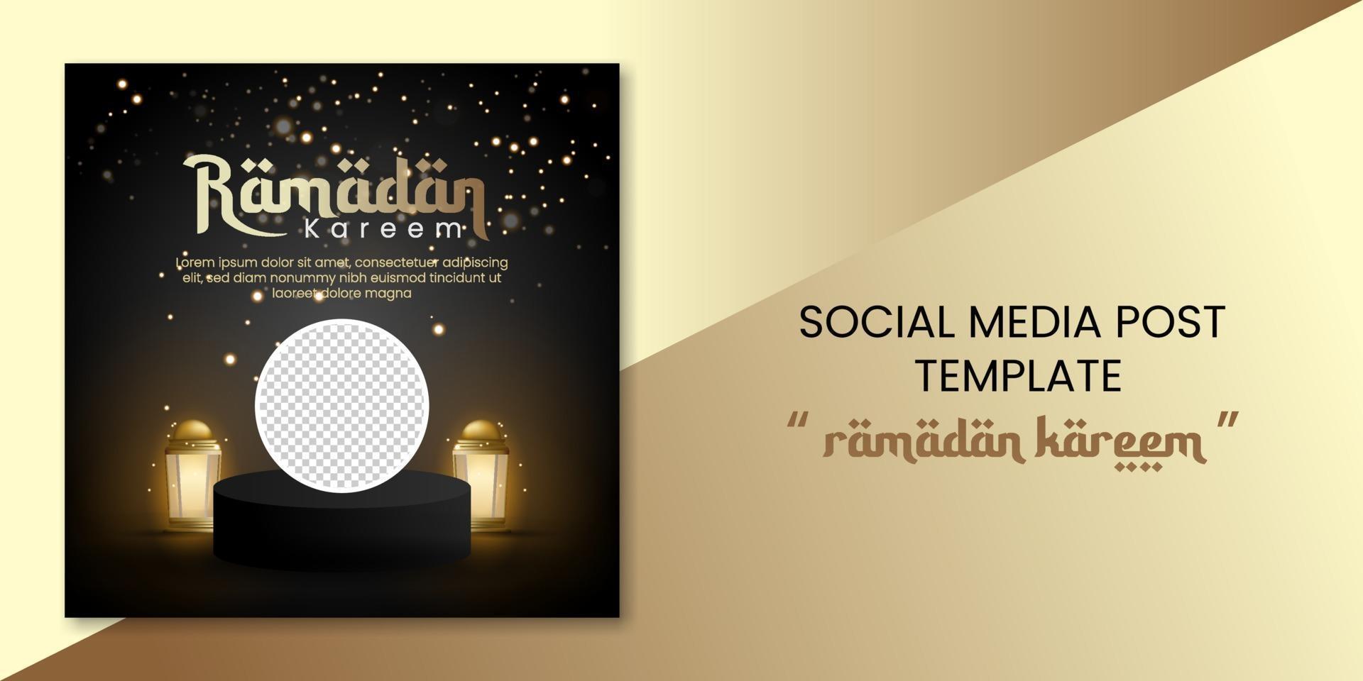 banner de redes sociales de ramadan kareem con linterna y podio para tarjeta de felicitación, cupón, cartel, plantilla de banner para evento islámico vector