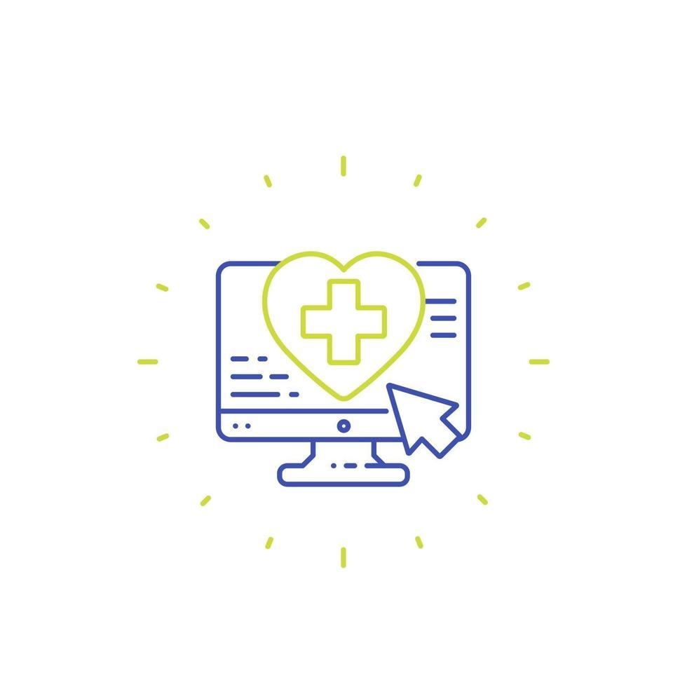 icono de servicios médicos en línea, vector de línea