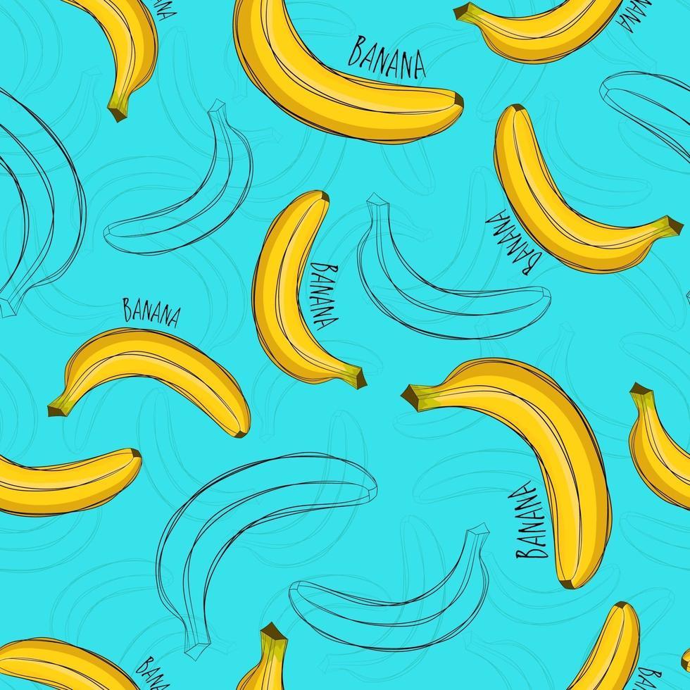 verano de patrones sin fisuras. estampado brillante con estilo banana. vector