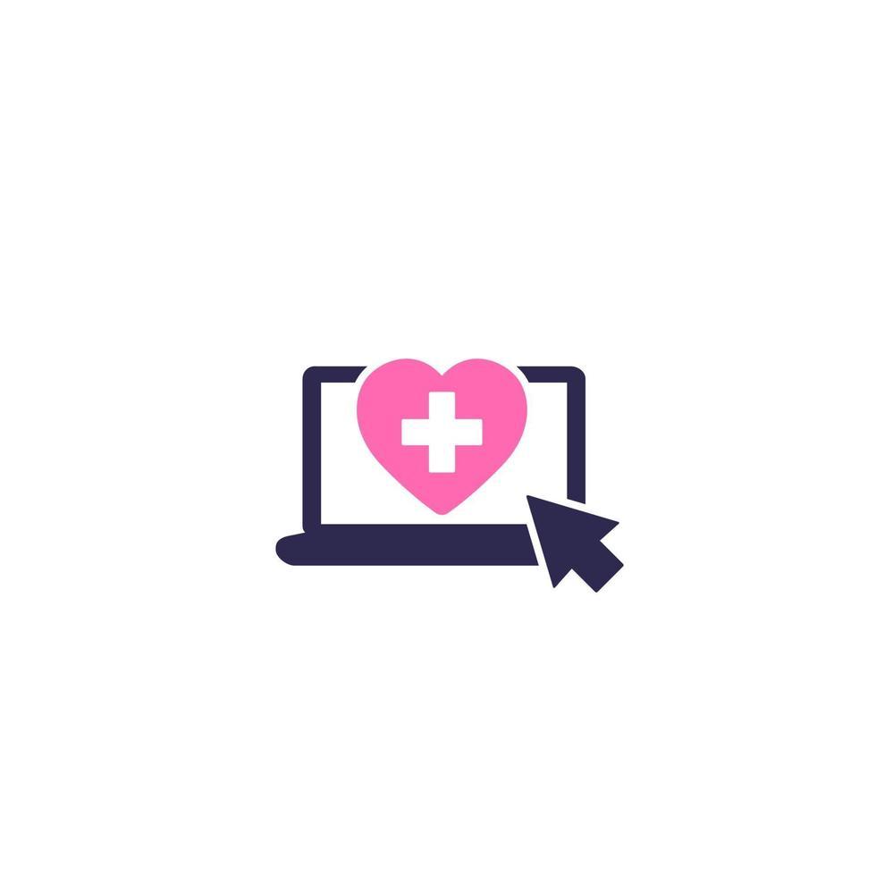 icono de servicios médicos en línea, vector