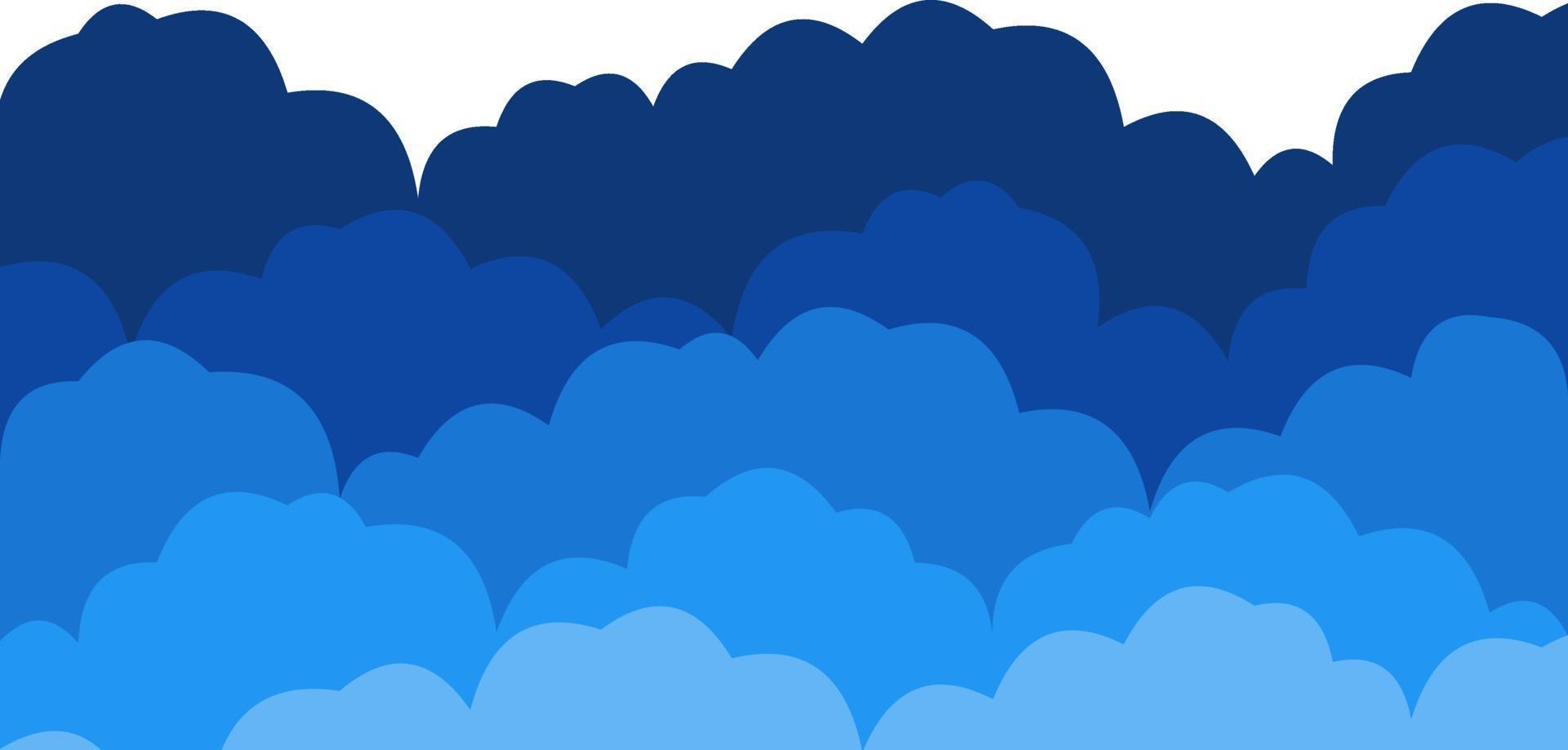 fondo de cinco filas de nubes de colores vector