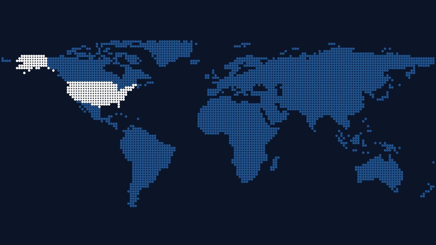 mapa mundial de círculos con los estados unidos resaltados vector