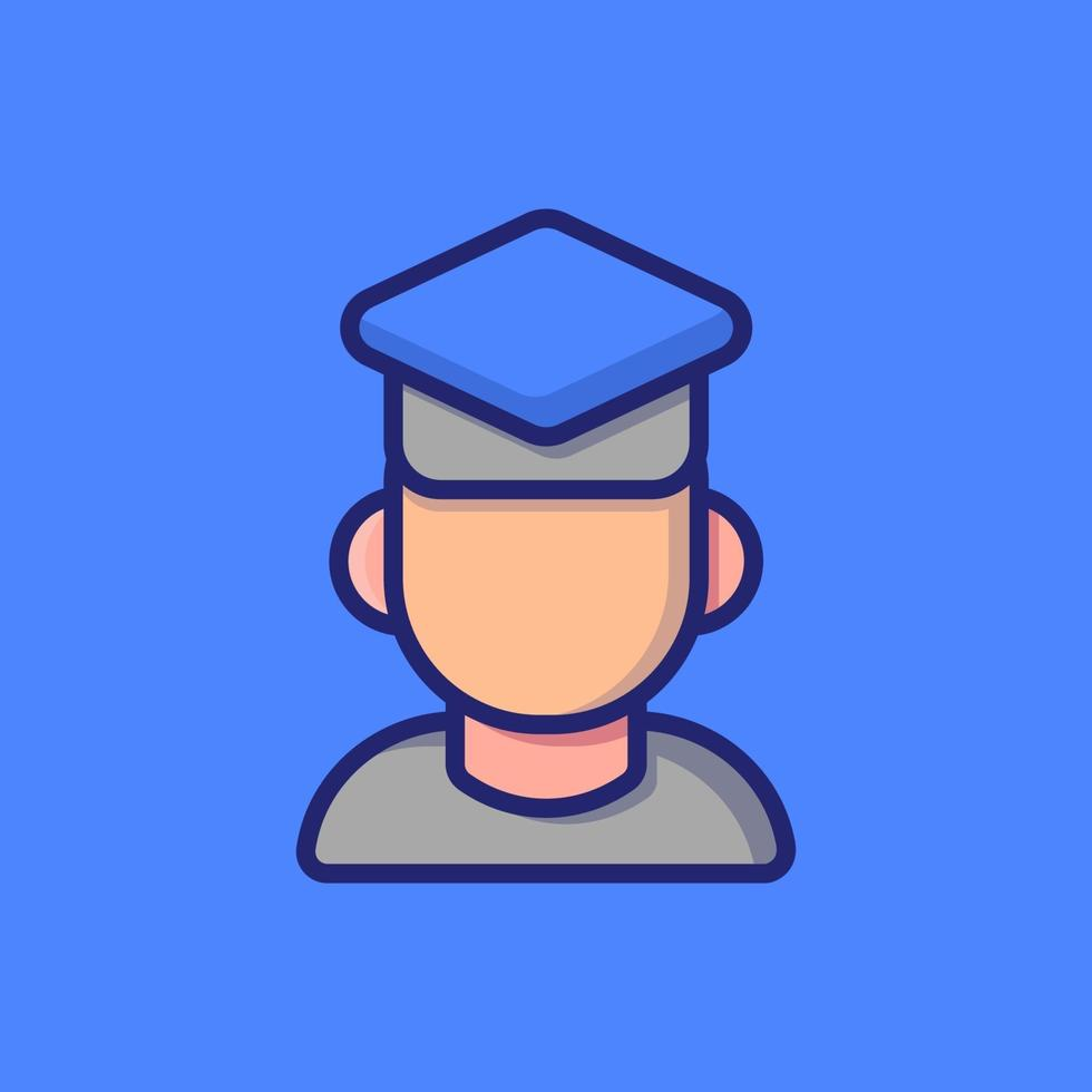 Boy Graduating Vector Icon Illustration. Flat Cartoon Style Suitable For Web Landing Page, Banner, Sticker, Background.