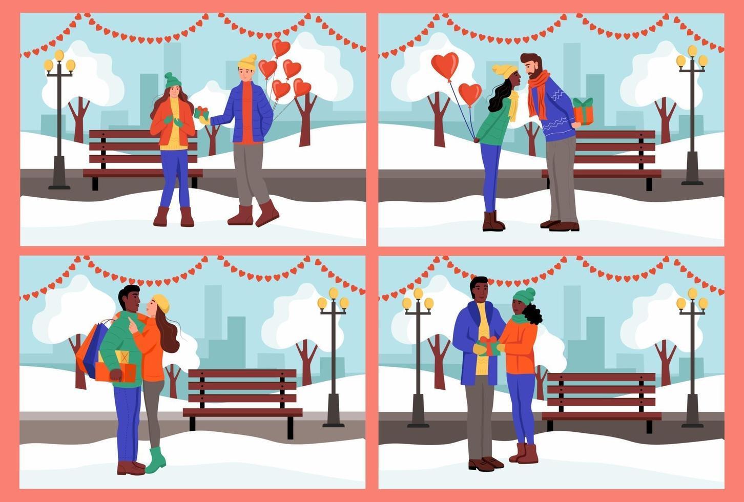 colocar. pareja intercambia regalos y se besa en un parque de invierno. un hombre y una mujer jóvenes celebran el día de san valentín. ilustración vectorial plana. vector