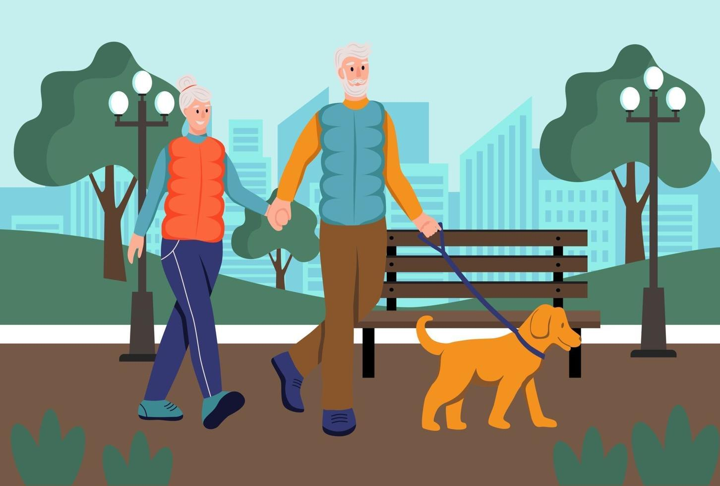 Elderly couple walking their dog in the Park.The concept of active old age. Day of the elderly. Flat cartoon vector illustration.