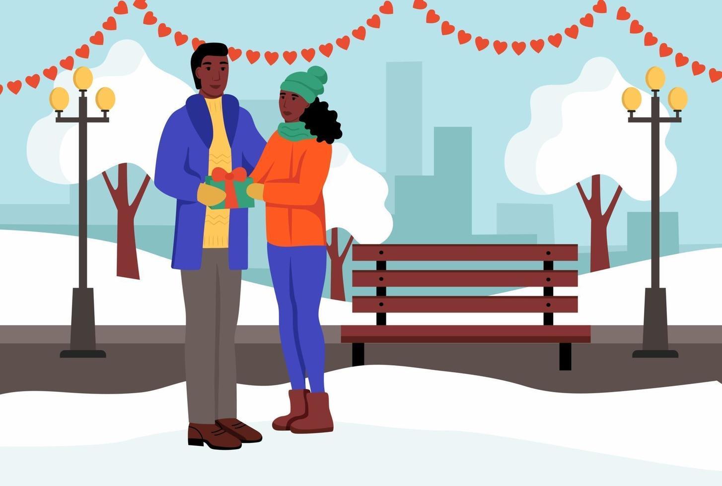 una pareja intercambia regalos en un parque de invierno. un hombre y una mujer jóvenes celebran el día de san valentín. ilustración vectorial plana. vector