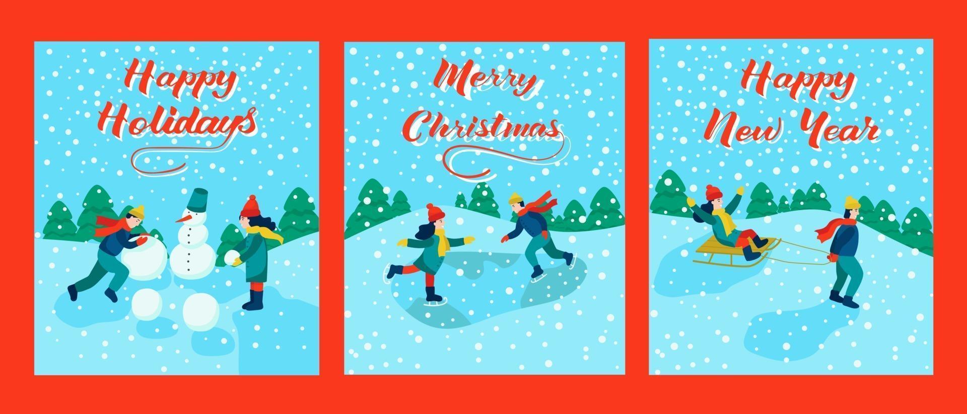 juego de tarjetas navideñas. letras feliz navidad, feliz año nuevo, felices fiestas. los niños van en trineo, patinan, hacen un muñeco de nieve. ilustración vectorial. vector