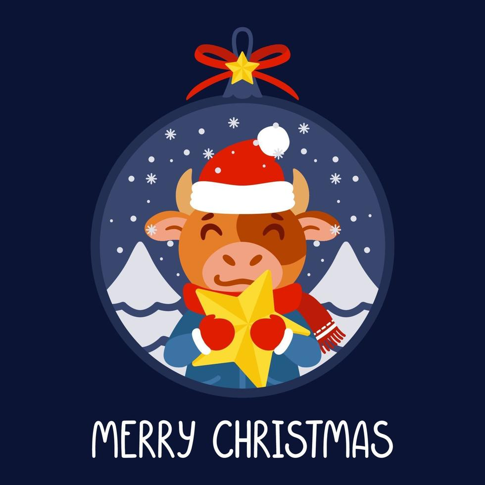 Christmas ball with the image of bull holding a yellow star. The symbol of the Chinese New Year 2021. Greeting card with ox for the New Year and Christmas. Vector illustration.