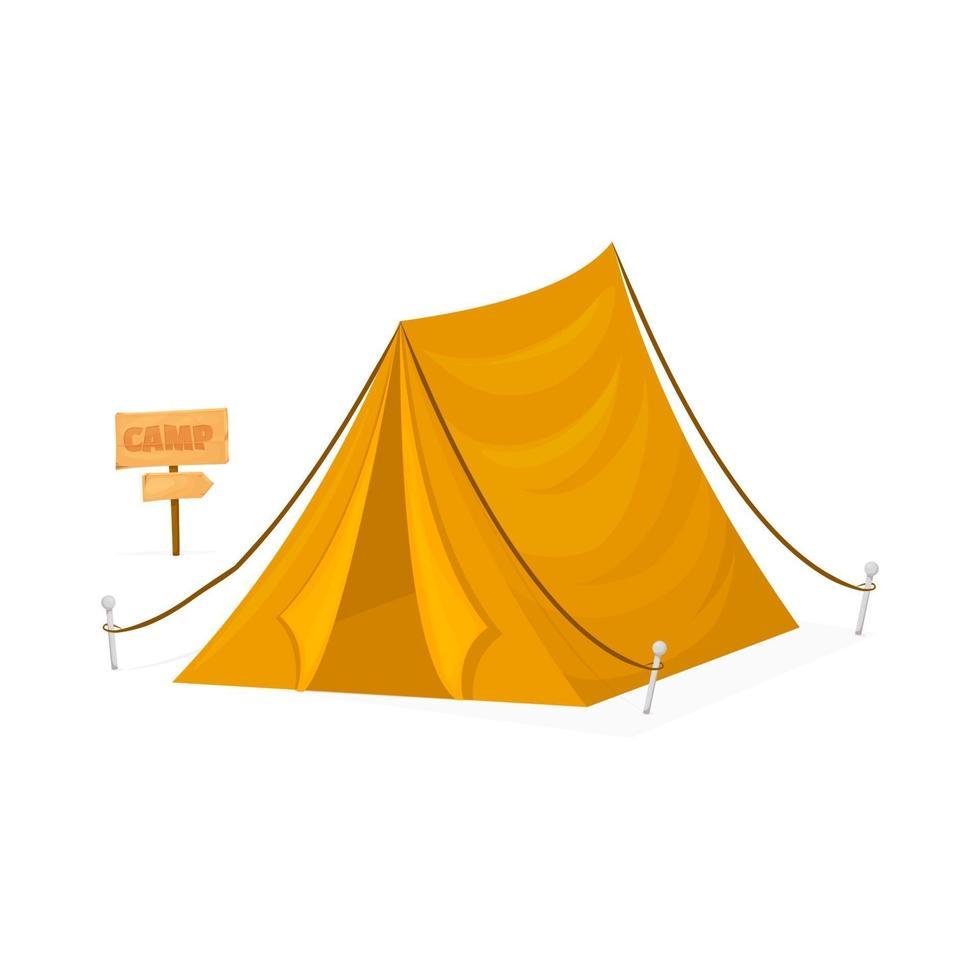 campamento de tiendas de campaña viajes turismo senderismo equipo al aire libre. Tienda de campaña turística amarilla aislada sobre fondo blanco. vector