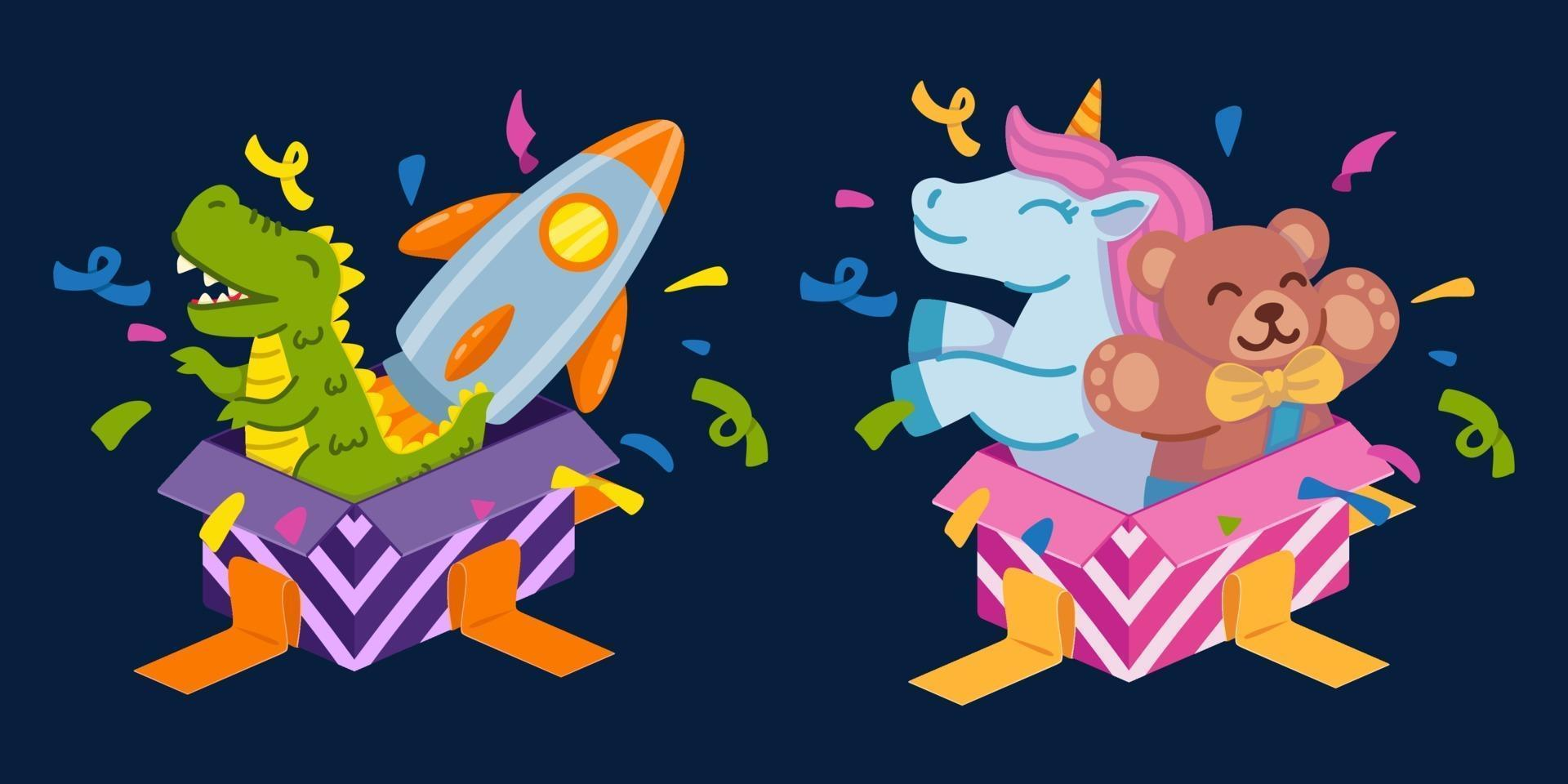 Open gift boxes for boy with dinosaur and space rocket and for girl with unicorn and teddy bear. Set of elements for a happy birthday greeting card and for a party invitation. Vector illustration.