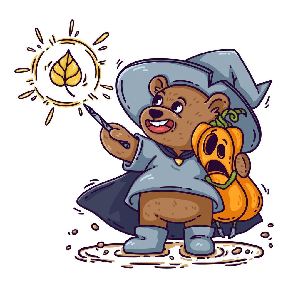 oso mago con sombrero de bruja, impermeable y botas, abrazos calabaza de halloween conmocionada. el mago lanza un hechizo con una varita mágica. Ilustración de vector de niño divertido aislado sobre fondo blanco, para cartel, tarjeta.