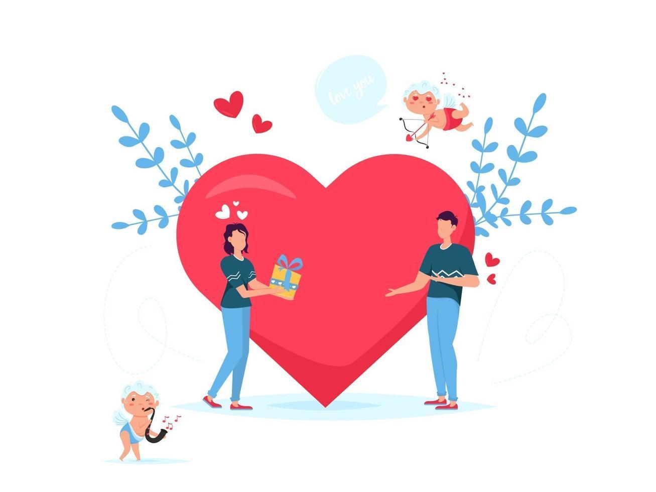 tarjeta de regalo de citas de concepto romántico del día de San Valentín. los amantes de la relación de dos personas. pareja dando caja de regalo. vector