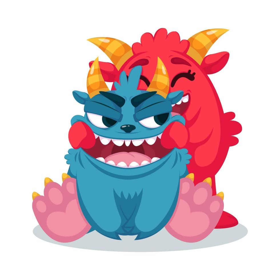 Cute monsters pulls a smile. Flat vector illustration. Print for greeting card, kids and baby t-shirts and clothes.