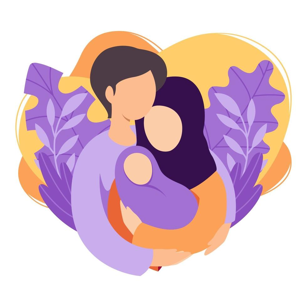 Muslim mother and father holding their newborn baby. Islamic couple of husband and wife become parents. Man embracing woman with child. Maternity, fatherhood, parenting. Flat vector illustration.