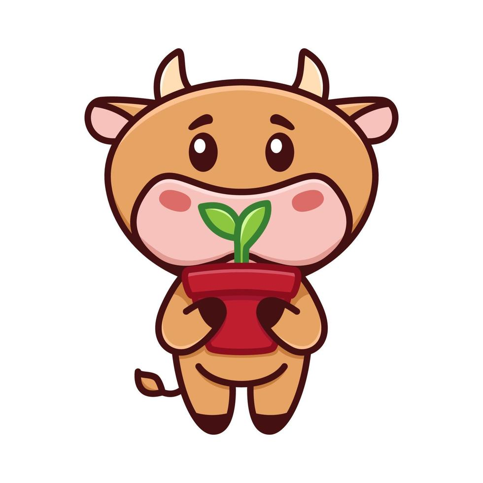 Cute little bull is holding a pot of sprout. The cow is gardening. Vector illustration. Funny logo. Cute childish picture with little bull, cow, taurus, calf character. Symbol of 2021.