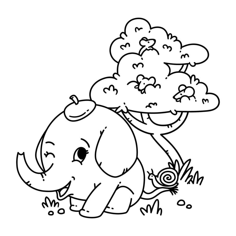 elefante con sombrero con caracol en la cola y ratón en un árbol. Ilustración de vector de personaje animal de dibujos animados aislado sobre fondo blanco. para colorear página y libro.