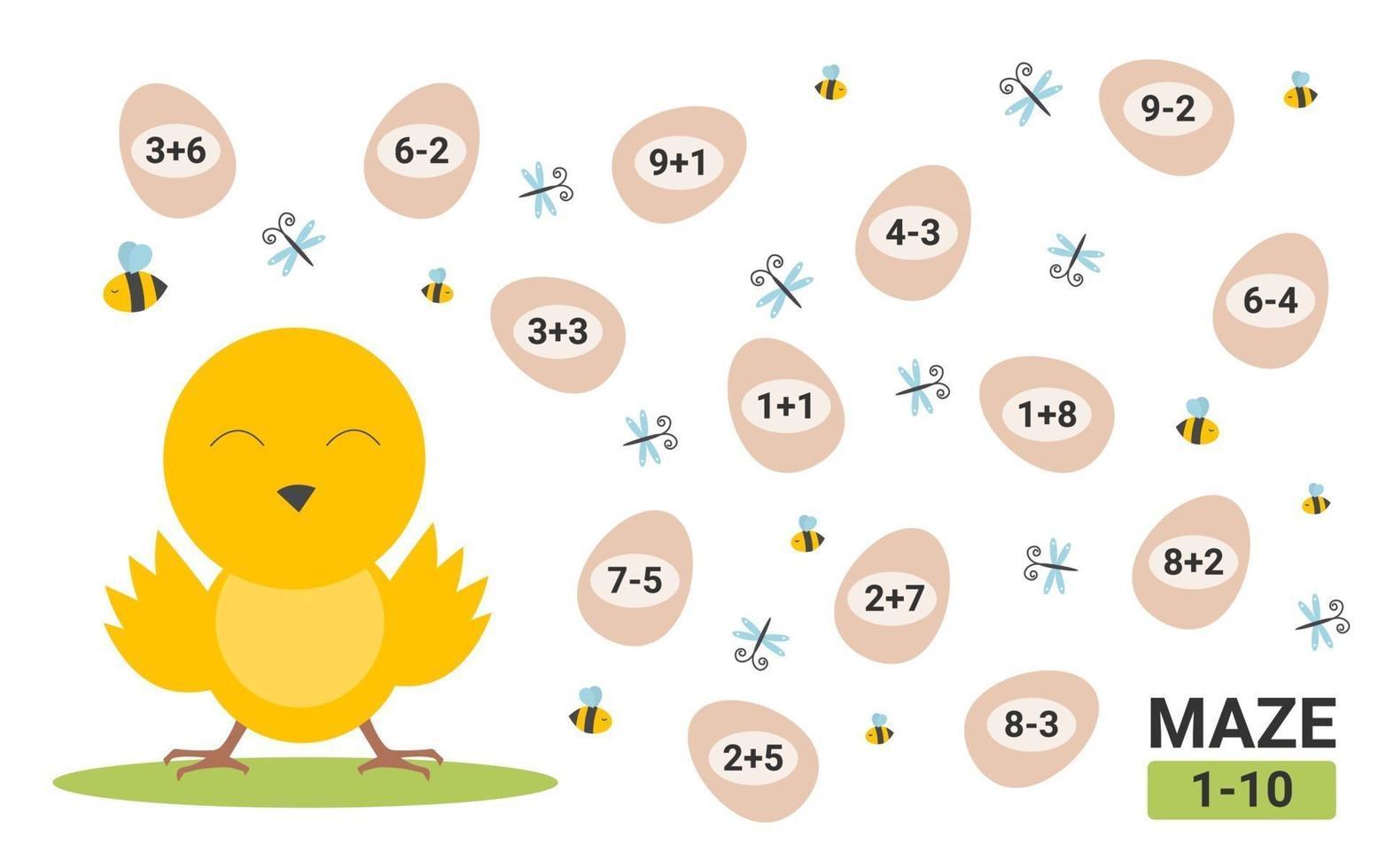 juego de laberinto para niños. Actividad educativa del laberinto de matemáticas para niños. vector