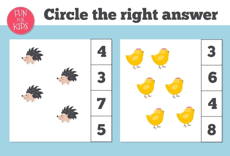 juego de conteo para niños en edad preescolar. educación en casa. educativo un juego matemático. vector