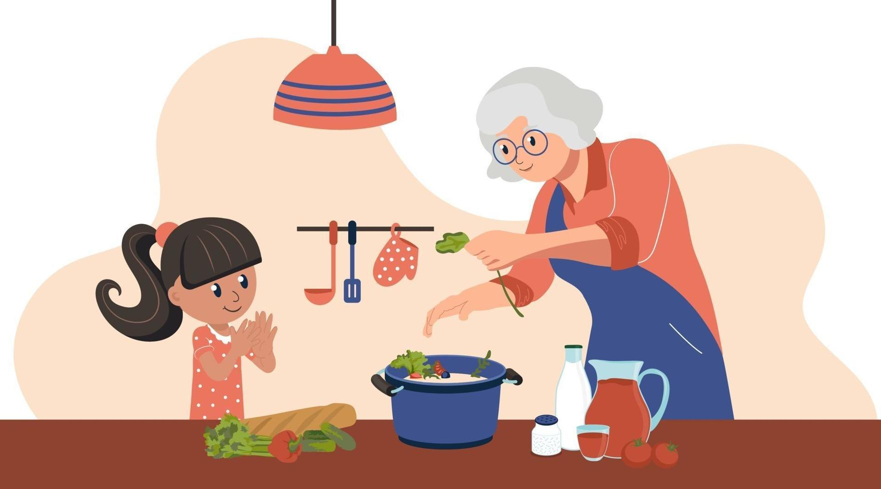 Grandmother and granddaughter spend time together in the kitchen. The child is on school holidays. Vector illustration