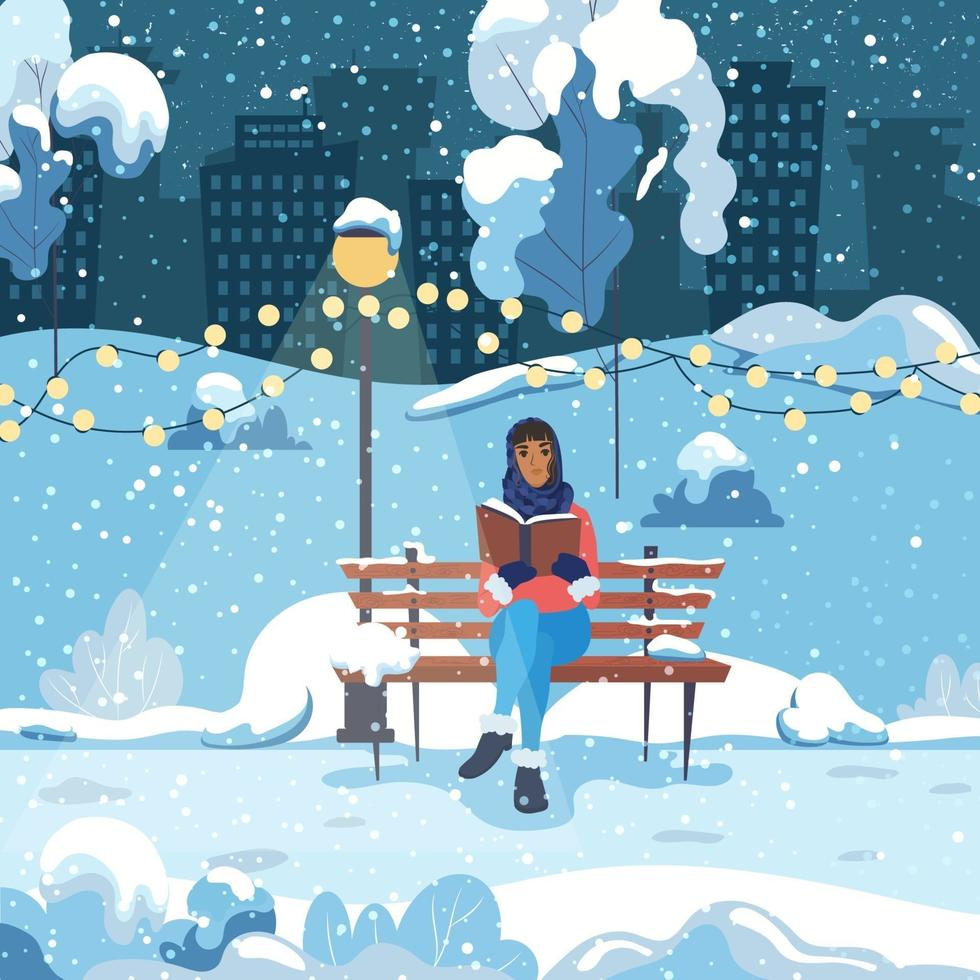 A young woman sits on a bench in a city winter park and reads a book. The girl is resting in the fresh air. Vector illustration.