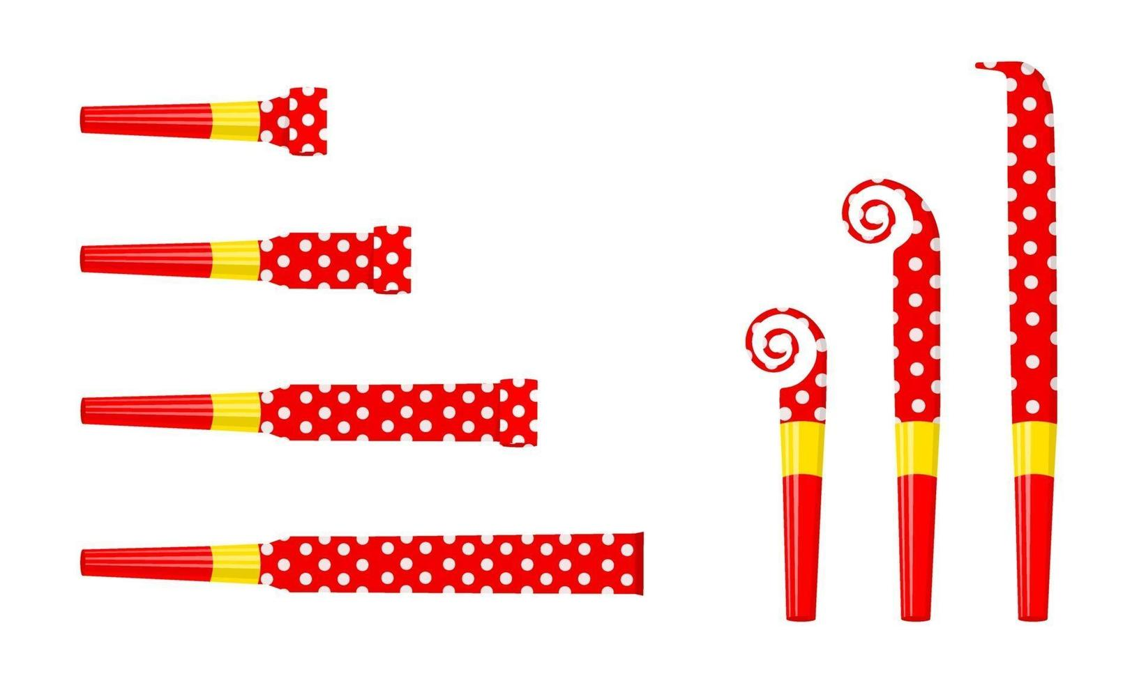 Party noise makers, blowers isolated on white background. Rolled and unrolled red polka dot sound whistles. Side and top view. Celebration concept vector