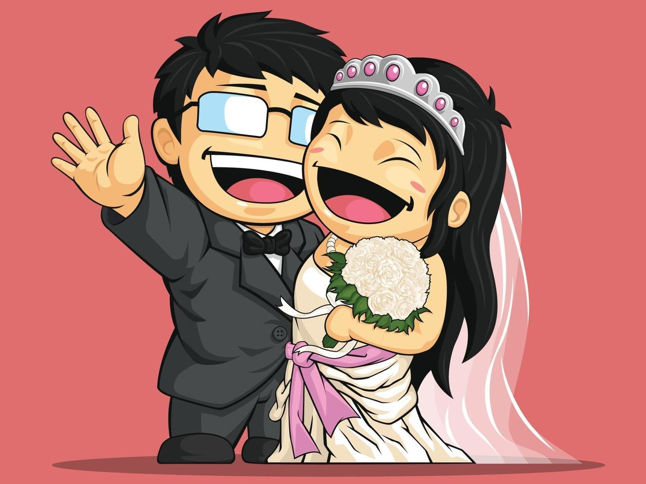 Happy Wedding Bride Groom Couple Engagement Cartoon Illustration vector