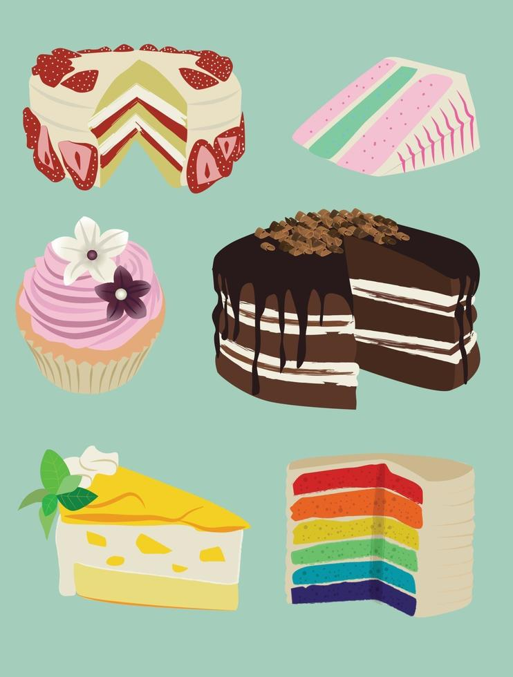 Festive cakes. Icon set of dessert vectors with looking delicious