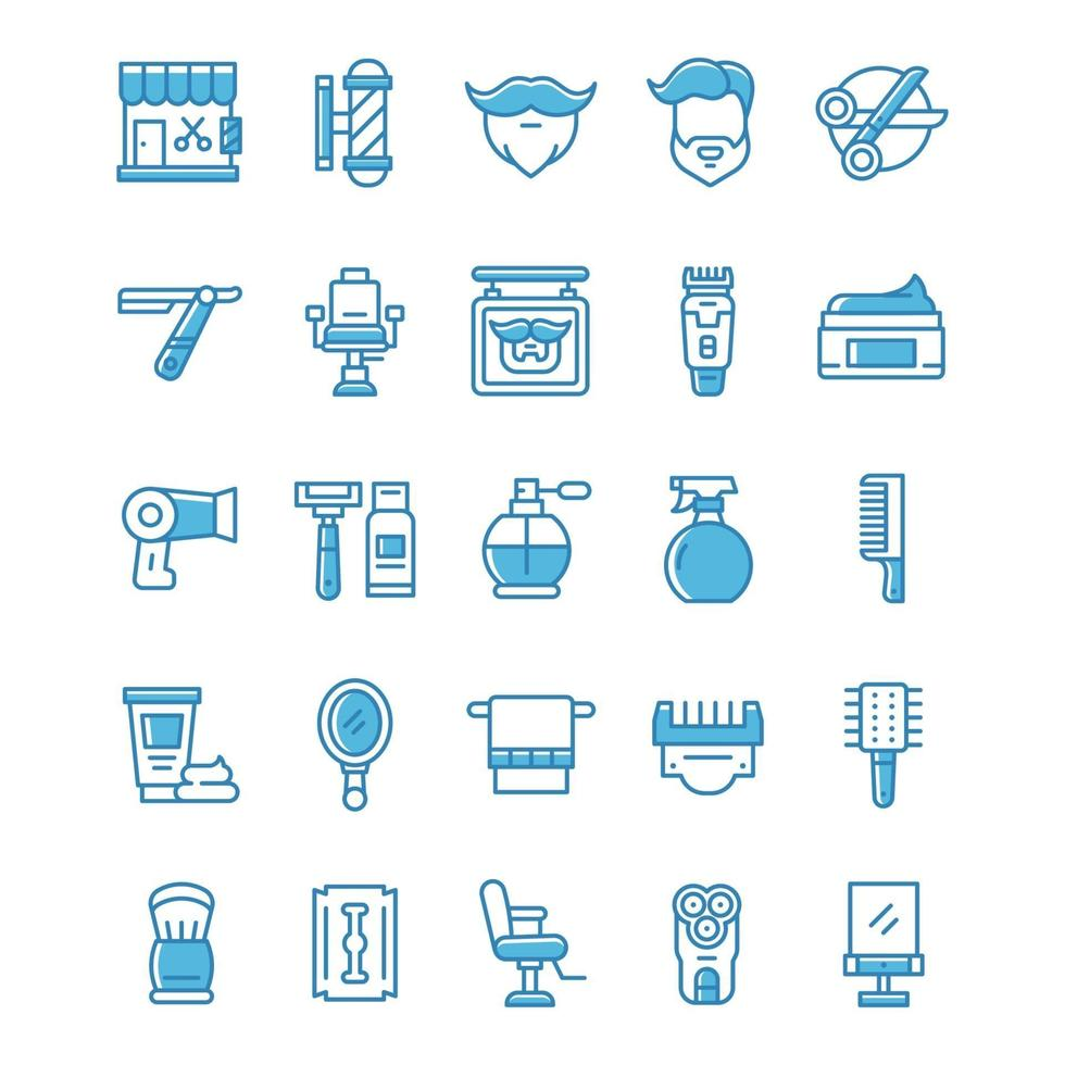 Set of Barbershop icons with blue style. vector