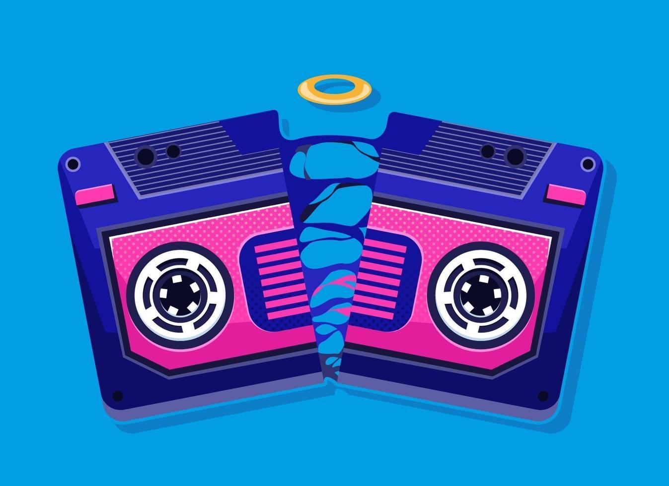 Cassette broken illustration. Vector fun art