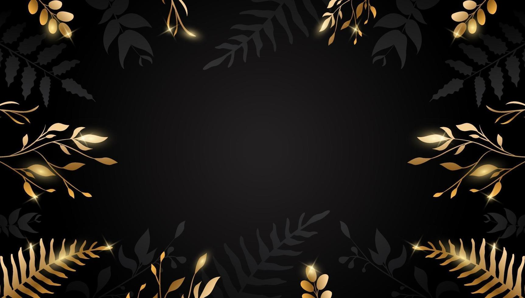 Gold leaf. Golden flower on dark background. Vector design for brochure, card, cover.