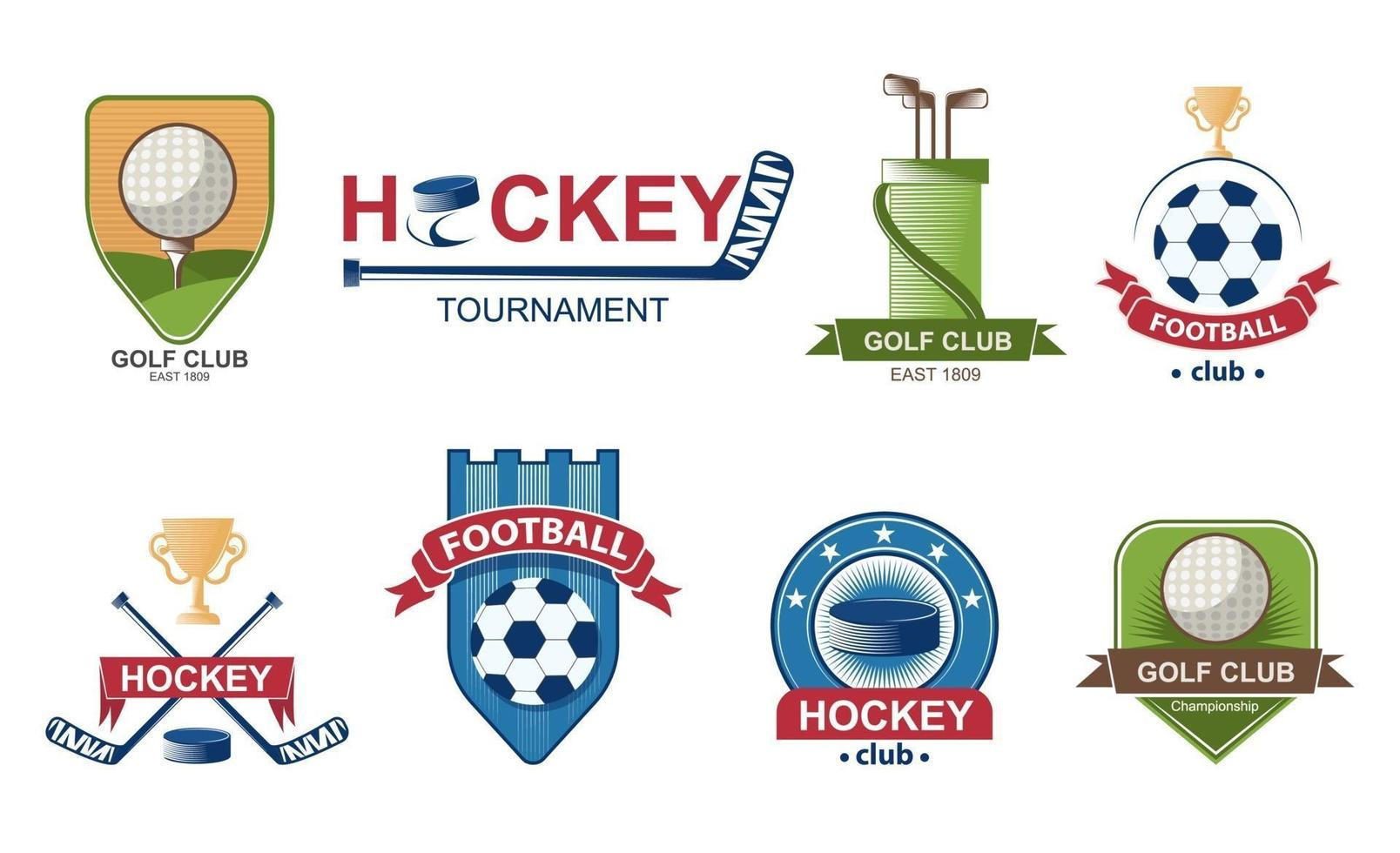 Set of Football logos. Golf Collection emblem. Hockey labels badges. Vector illustration.