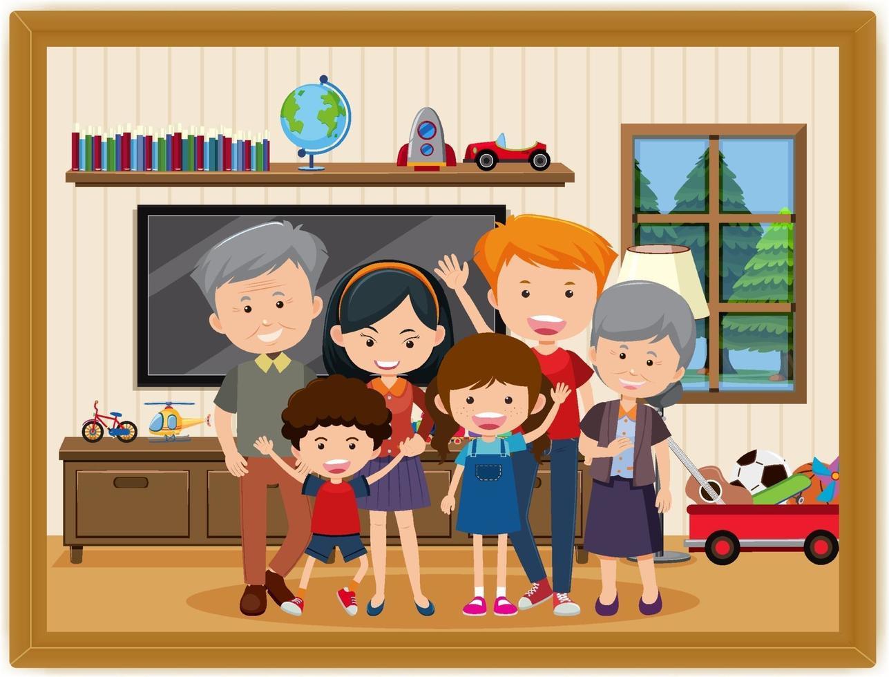 Happy family in the living room scene photo in a frame vector