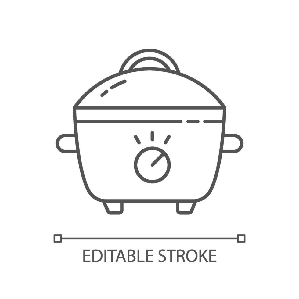 Slow cooker linear icon vector