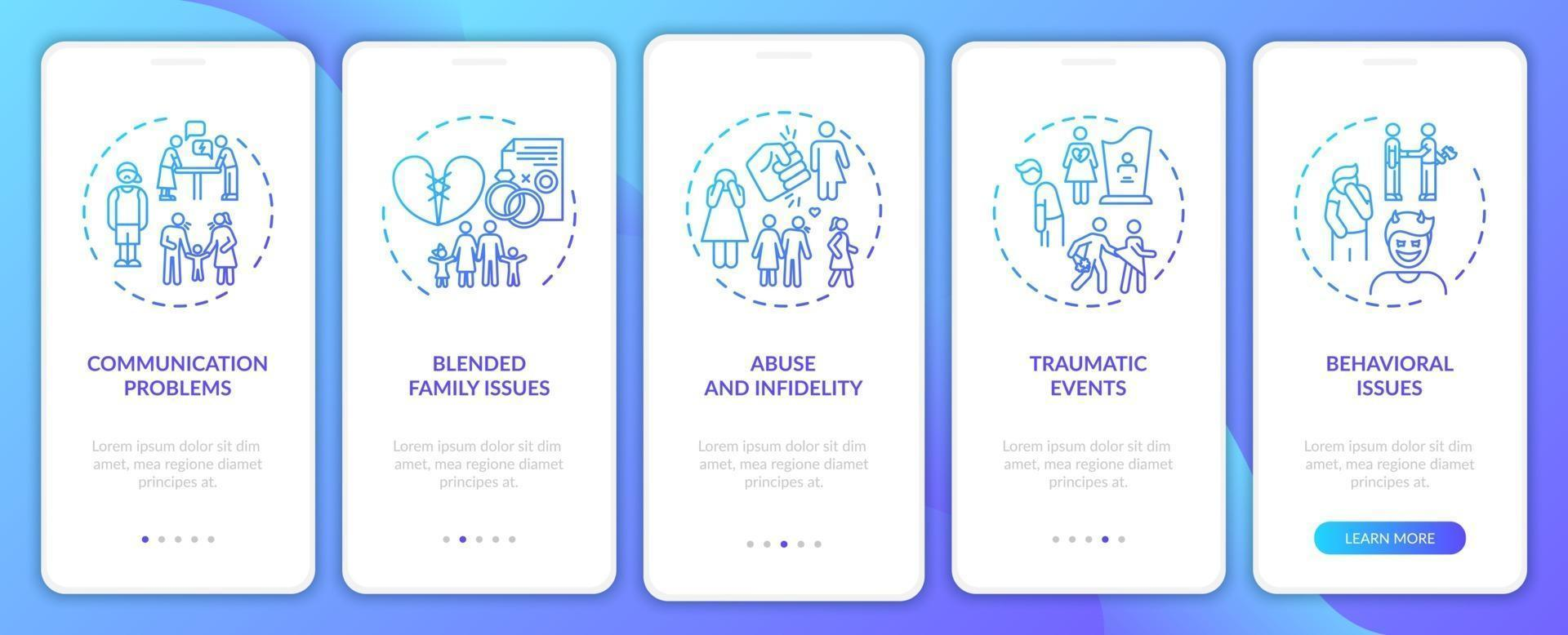 Tipos de terapia familiar en línea incorporación de la pantalla de la página de la aplicación móvil con conceptos vector