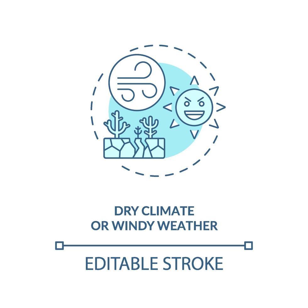 icono de concepto de clima seco o ventoso vector