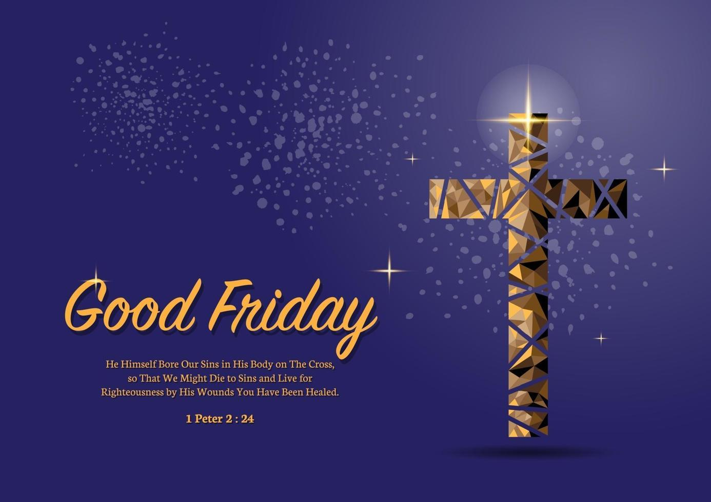 Good Friday Copper Cross in triangle low poly style on purple Background vector