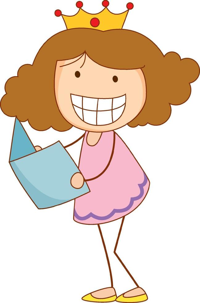 A doodle kid holding a book cartoon character isolated vector