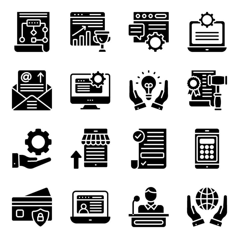 paquete de iconos sólidos de negocios en línea vector
