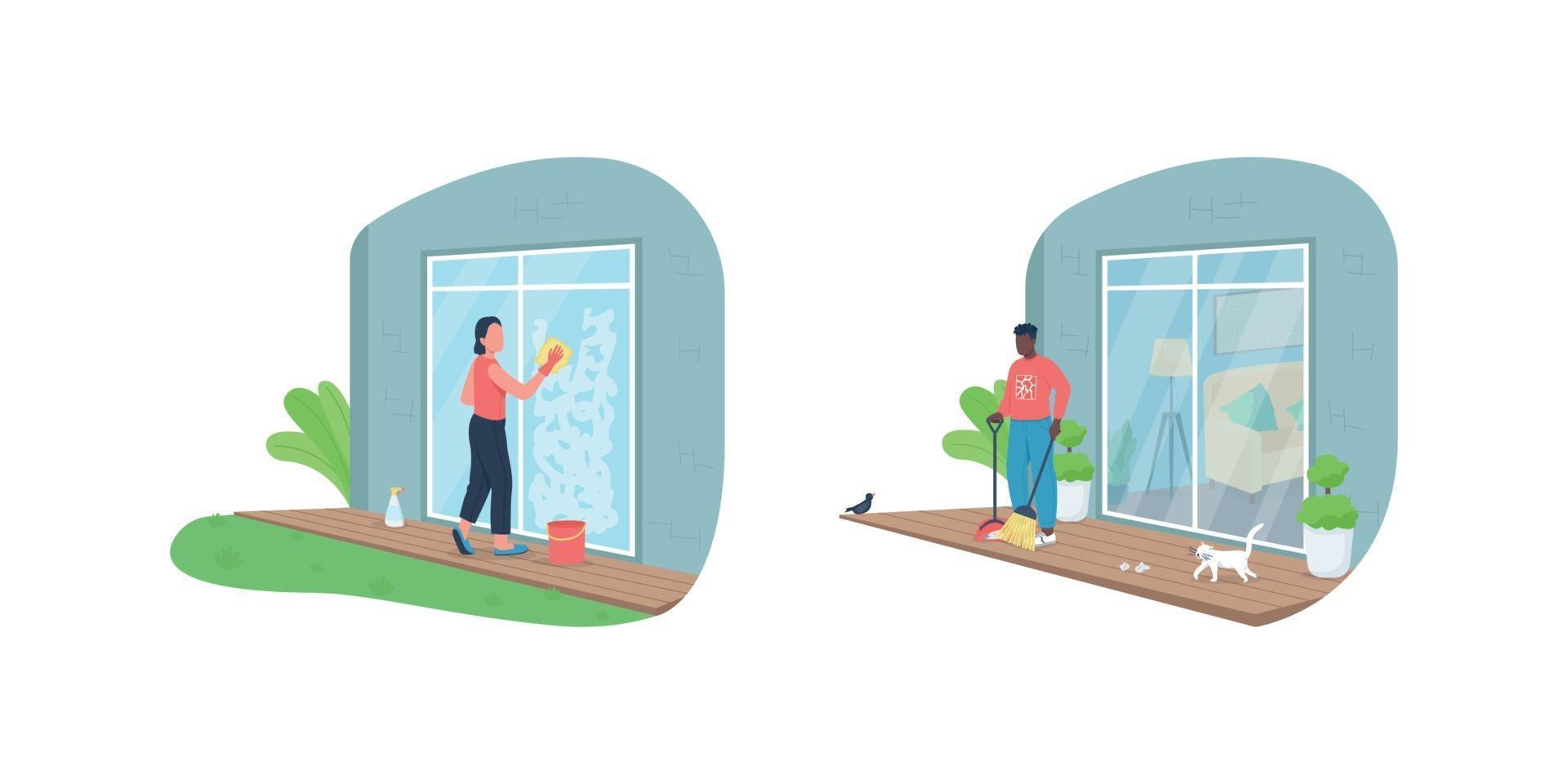 Outdoor house cleaning flat color vector faceless character set