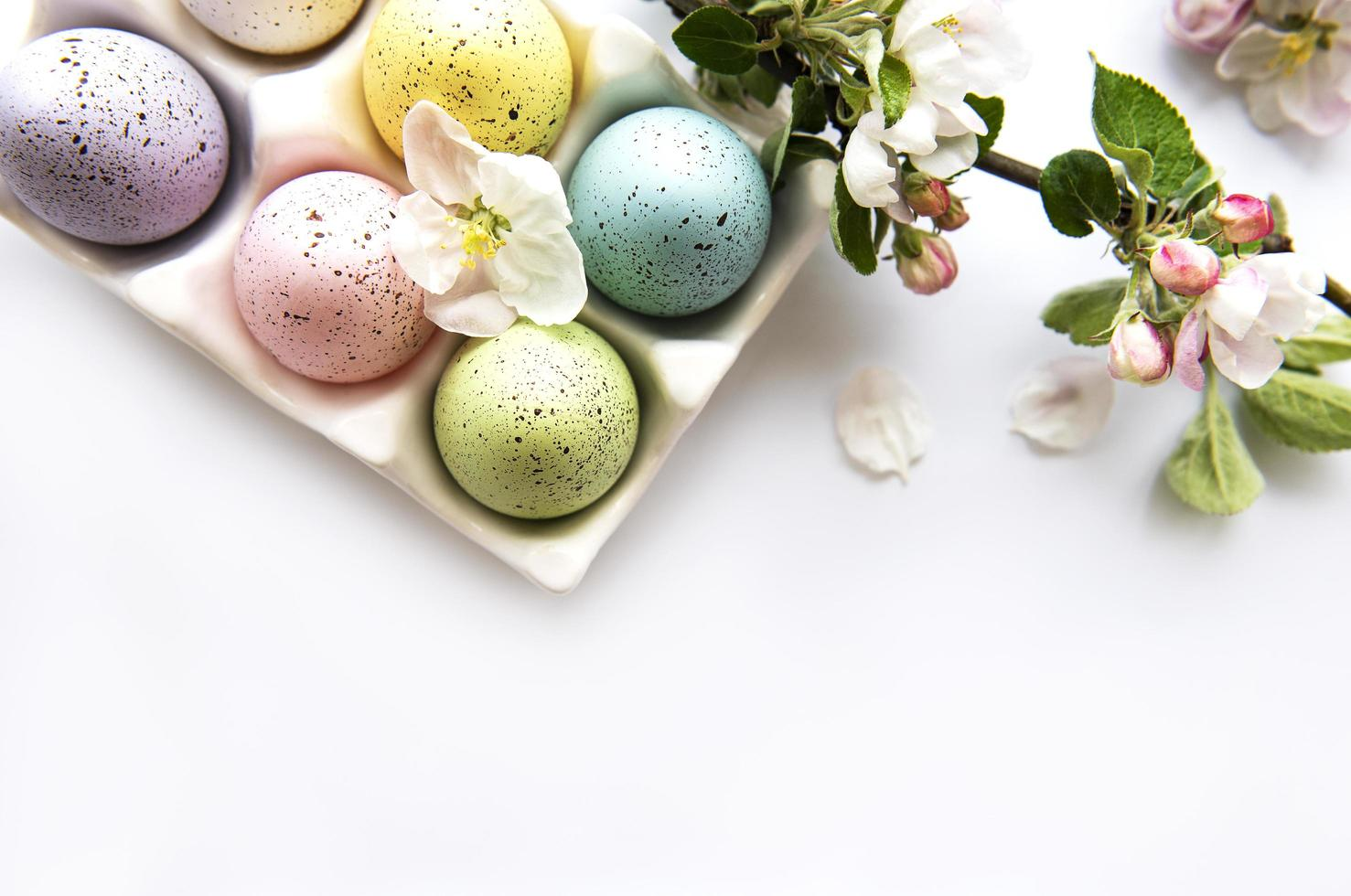 Top view of painted Easter eggs photo