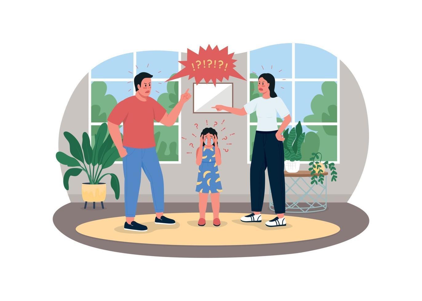 Parents fighting 2D vector web banner, poster