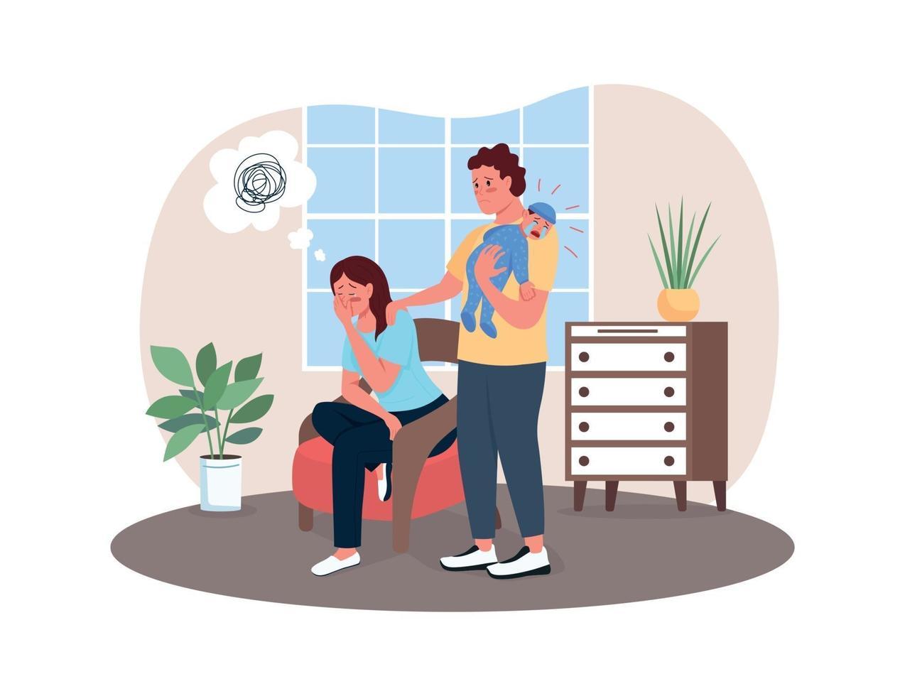 Postpartum depression 2D vector web banner, poster