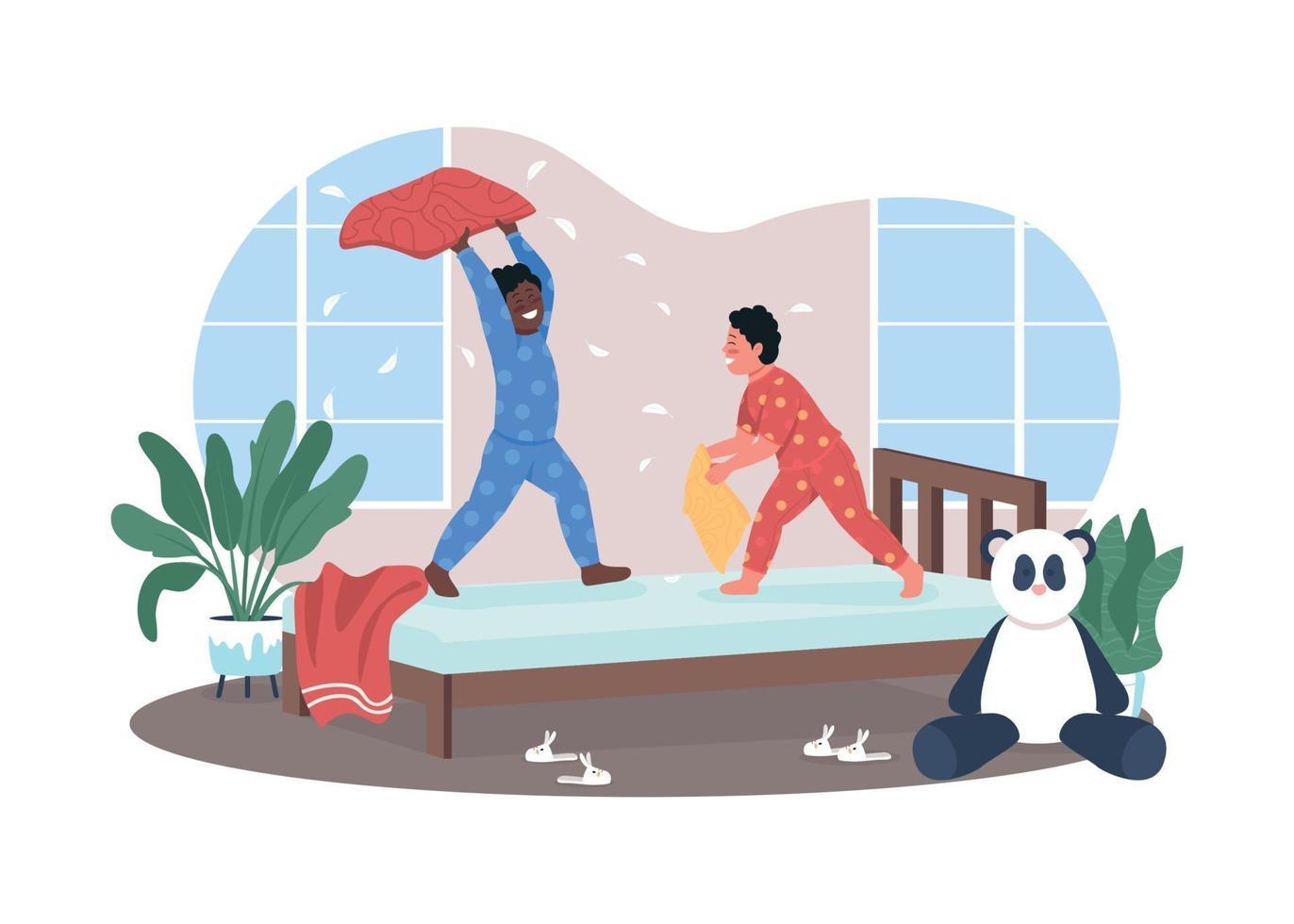 pelea de almohadas en kindergarten 2d vector web banner, poster