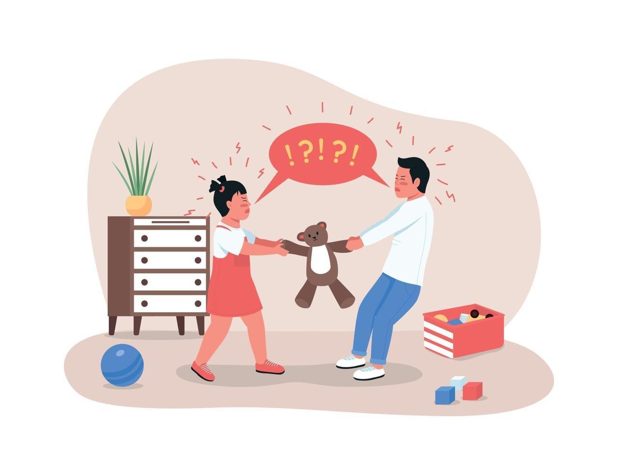 Children fighting over toy 2D vector web banner, poster