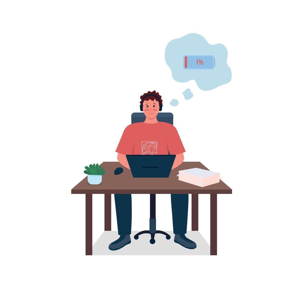 empleado cansado en el escritorio de trabajo color plano vector de carácter detallado